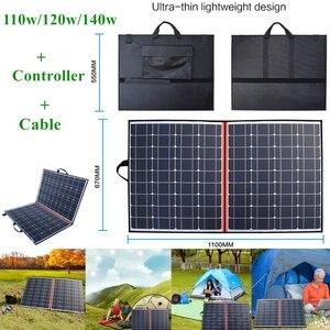 100w/110w/120w14 0w/150w/200w/300w painel solar flexível portátil dobrável saco solar mono célula + controlador para 12v carregador de bateria