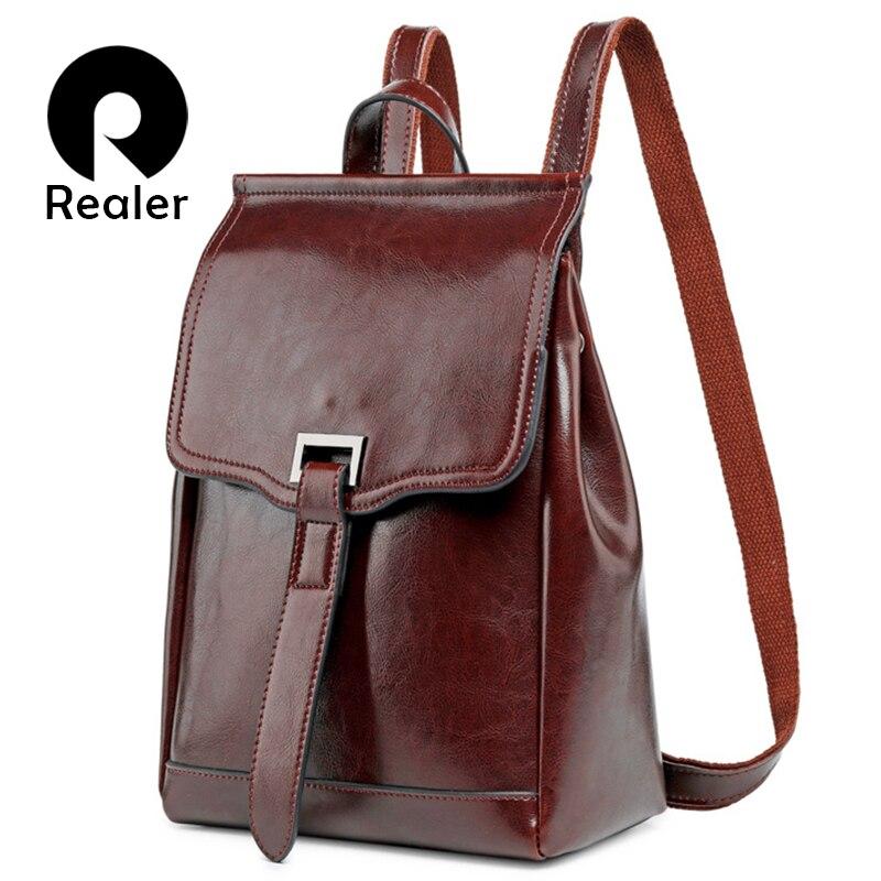 REALER fashion women backpack for teenage girls high quality leather backpacks vintage school bag shoulder bag female