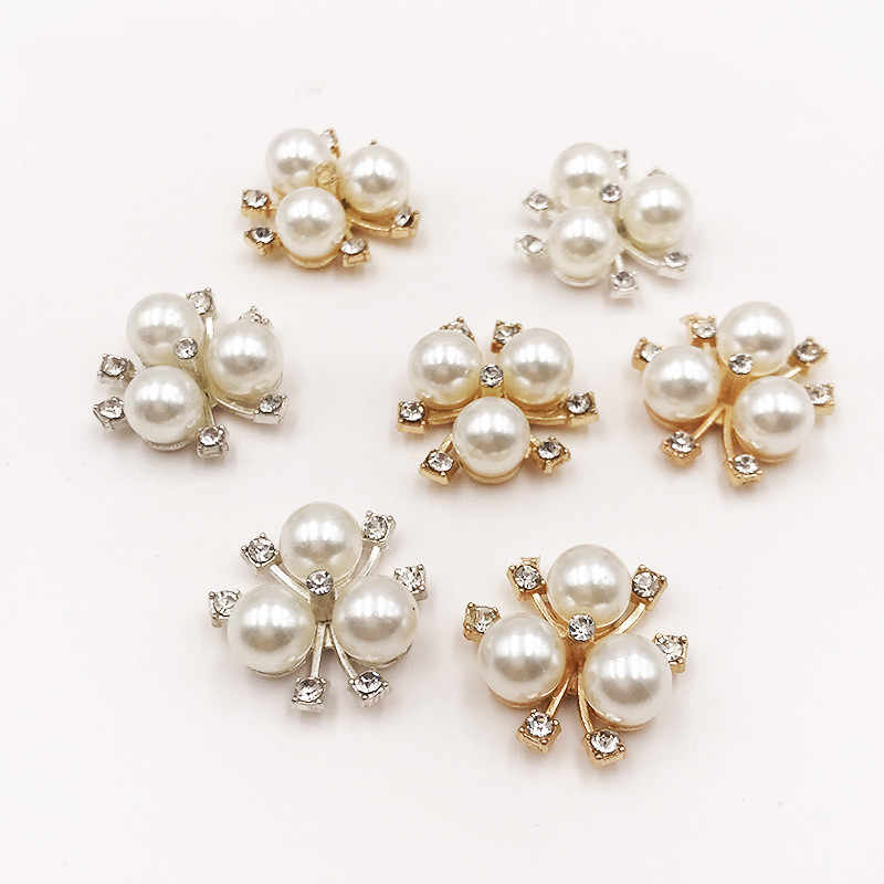 10 Stks/set Diy Bloem Strass Knoppen Parel Knop Legering Diamante Crystal Bow Bruiloft Decoratie Naaien Decor Accessoires