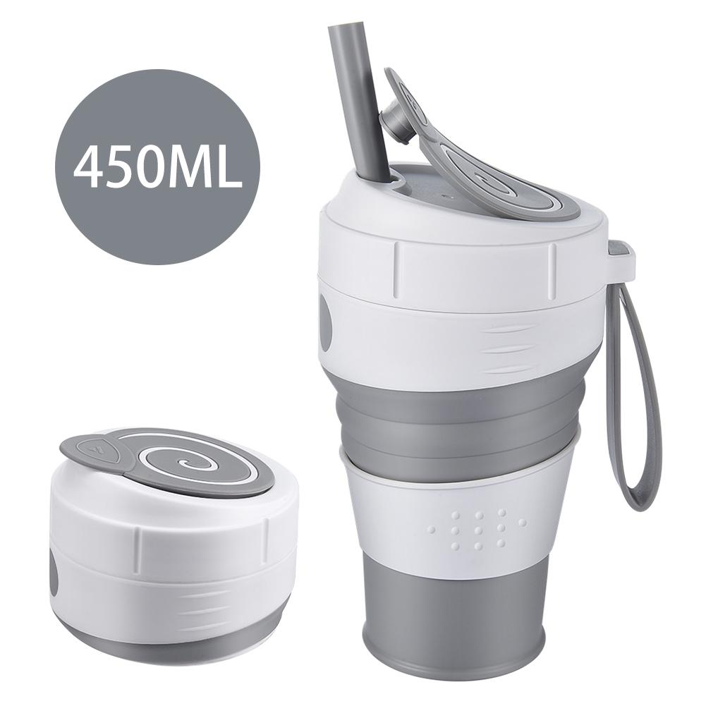 2021 New 450ml Collapsible Silicone Coffee Cup With Straw Leak-Proof Lid For Travel, Hiking And Picnic Food-Grade BPA Free-Foldi