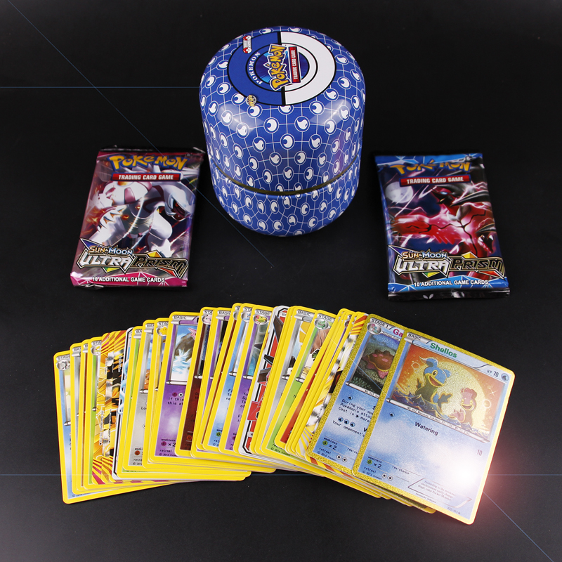 New POKEMON Card English Pokemon Ptcg Round Tin Can 76 Cards Per Box Battle Collection Card Box Kids Toy Gift