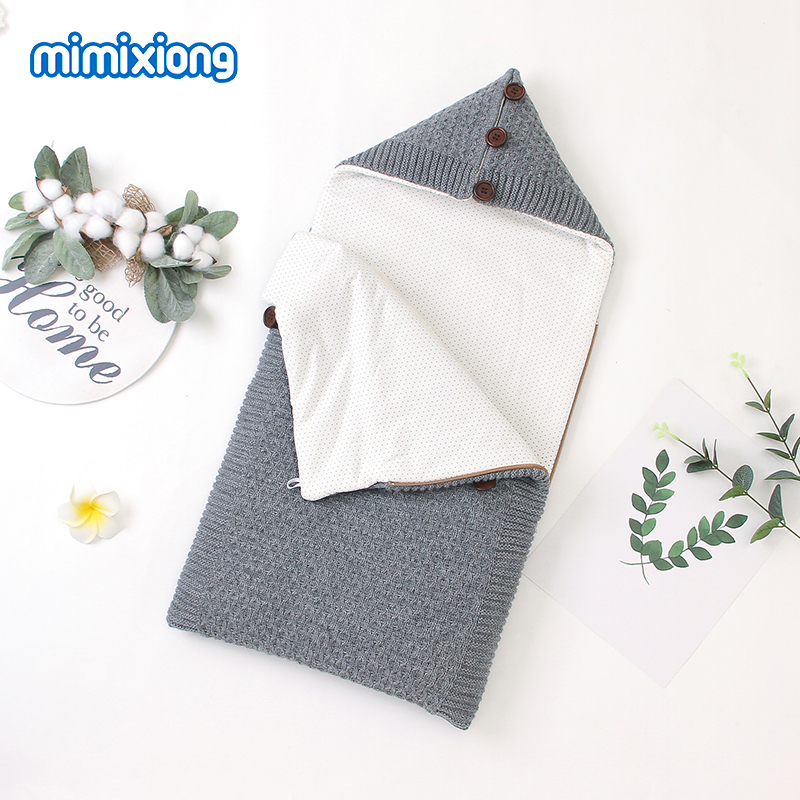 Baby Sleeping Bags Stroller Winter Warm Footmuff For Infant Kids Envelopes Solid Knitted Children Swaddle Wrap Sleepsack 75*35cm