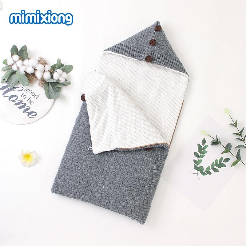 Baby Sleeping Bags Stroller Winter Warm Footmuff For Infant Kids Envelopes Solid Knitted Children Swaddle Wrap Sleepsack 75*35cm