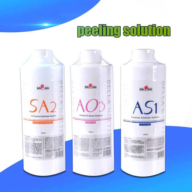2020 Hot Aqua Peeling Solution 3 Bottles AS1 SA2 AO3 Aqua Facial Serum Hydra Dermabrasion Facial Serum For Normal Skin On Sale