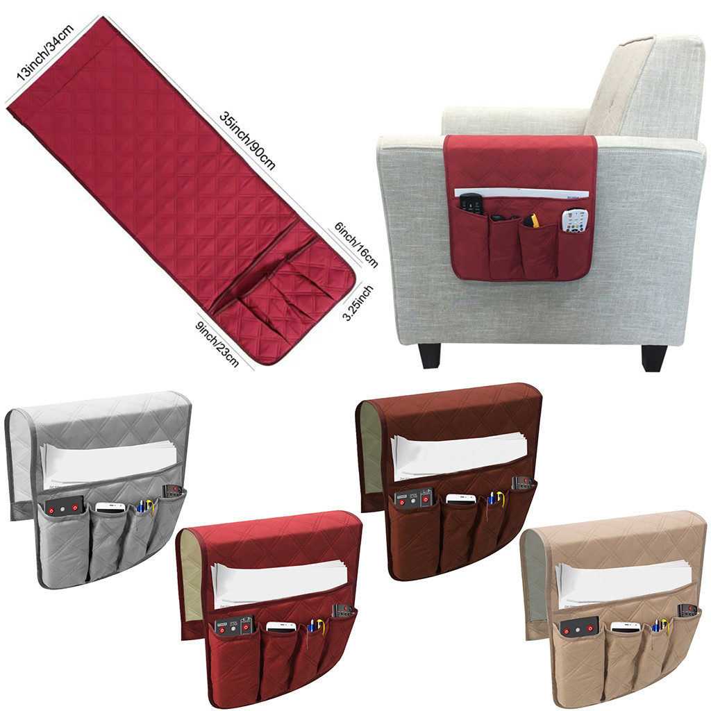 <font><b>Sofa</b></font> Couch <font><b>Remote</b></font> Control Holder Arm Rest Organizer Storage Bag Pouch <font><b>Pocket</b></font> Home Storage image