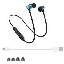 цена на Metal Magnetic Earpiece Earbuds Wireless Bluetooth Earphone Sweatproof Sports Headphone for Mobile Phone MP3 MP4 computer