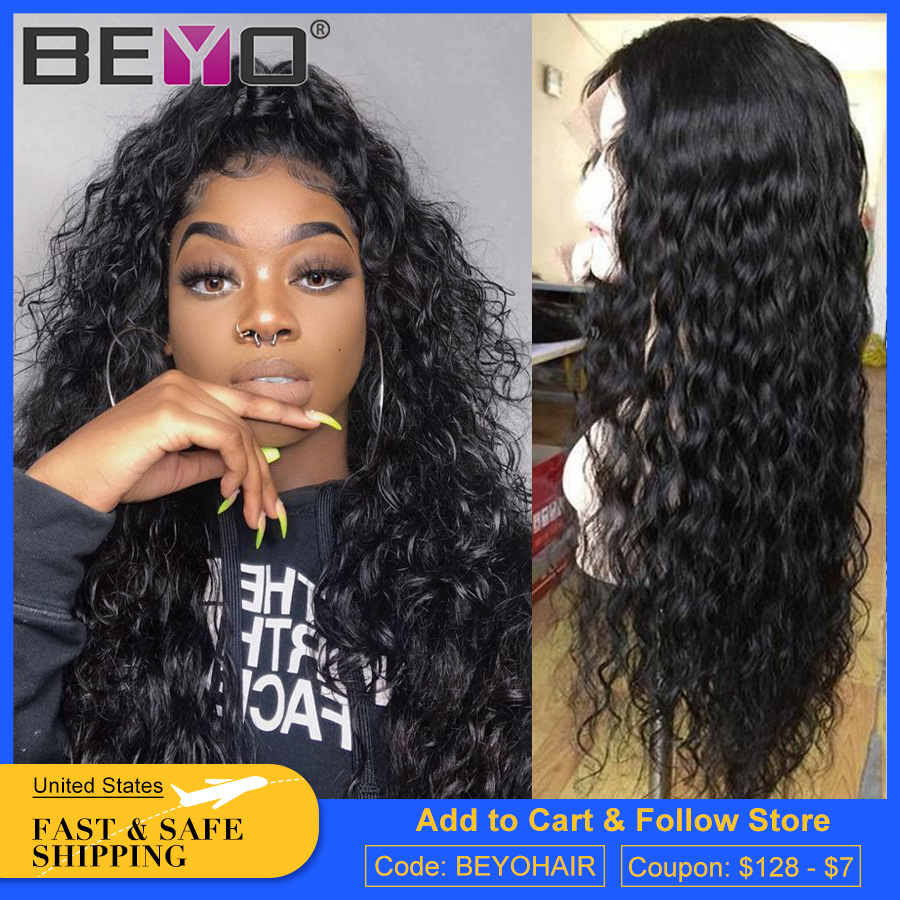 Brazilian Water Wave Wig 360 Lace Frontal Wig Pre Plucked Curly Lace Front Wig Remy Lace Front Human Hair Wigs For Women 10A