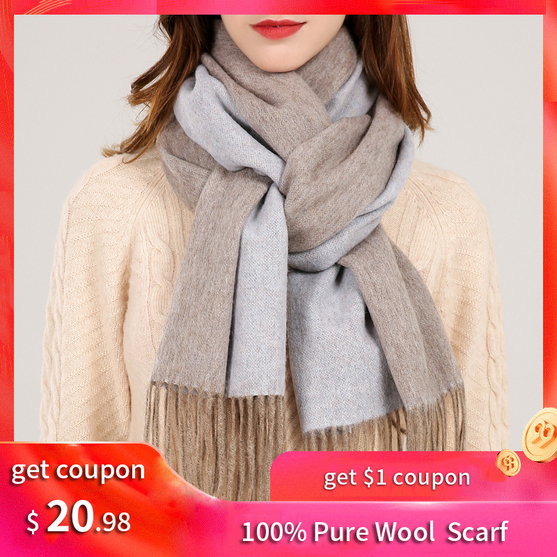 100% Pure Wool Scarf Women 2019 Brand Echarpe Wraps for Ladies Warm Foulard Femme Reversible Solid Winter Merino Scarves