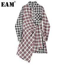 [Eam] 女性黒赤のチェック柄非対称ドレス新ラペル長袖ルーズフィットファッションタイド春秋2021 1S646