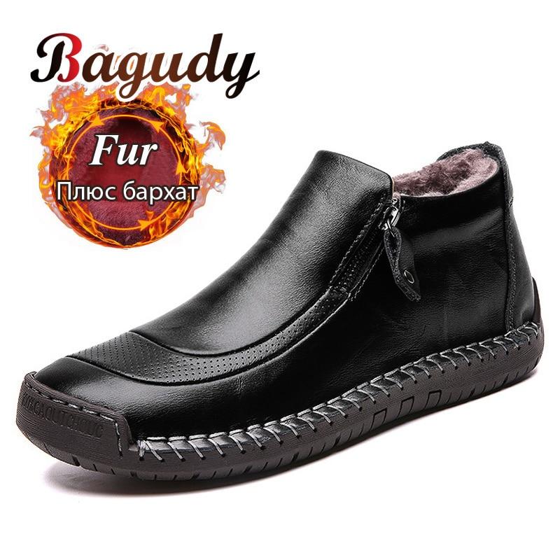 Fashion Leather Men Boots Warm Plush Winter Men Casual Shoes High Quality Split Leather Snow Boots Outdoor Warm Winter Men Shoes