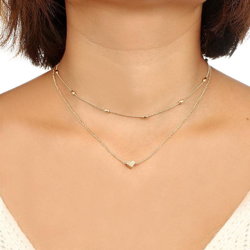 2020 Simple amour coeur collier ras du cou pour les femmes Multi couche perles Chocker collier déclaration bijoux ras du cou collier femme
