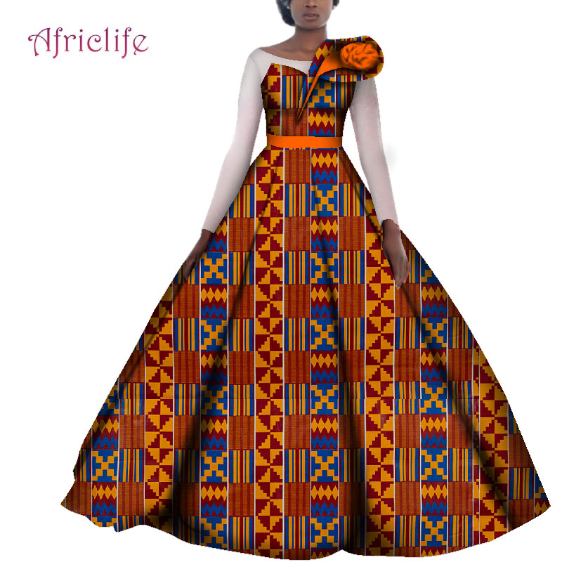 African Wedding Dresses For Women Cotton Batik Ankara Print Traditional Clothing Casual Party Long Sleeve Dress Plus Size WY4141