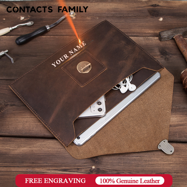 """Retro Genuine Leather Envelope Case For iPad Pro 10.5"""" Air 3 10.2"""" Bag For iPad Pro 11"""" 2020 sleeve case pouch with hand holder"""