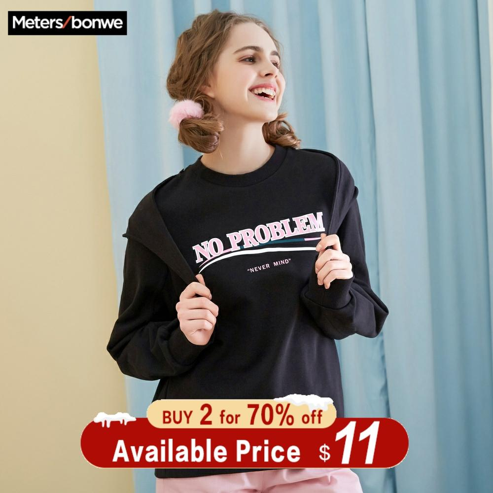 Metersbonwe Oversize Hoodies For Women Streetwear Letter Printed Casual Bf Sweatshirt 2019 New Women Hip Pop Hoodies  720950