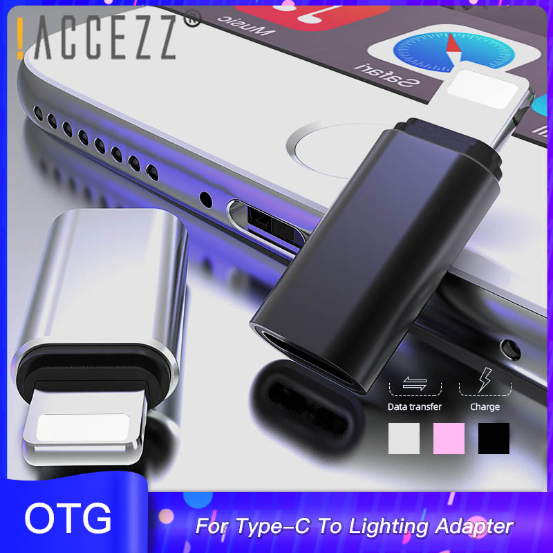 !ACCEZZ OTG Adapter Type-C Female To Lighting Male For Apple Adapter For Iphone X XS XR 8 7 Plus Mini USB Sync Charger Converter