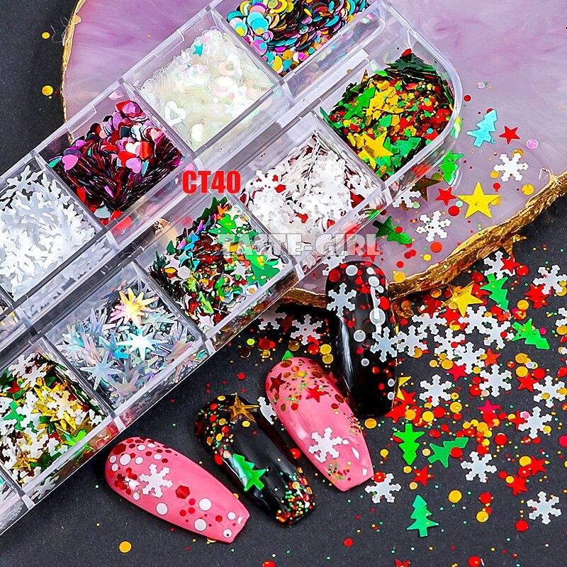 Mix Christmas Snowflake Xmas Tree Starlights Holo Nail Glitter Sequins Nail Art Slice Stickers Decoration 12 Grids/Box Or 1 Jar