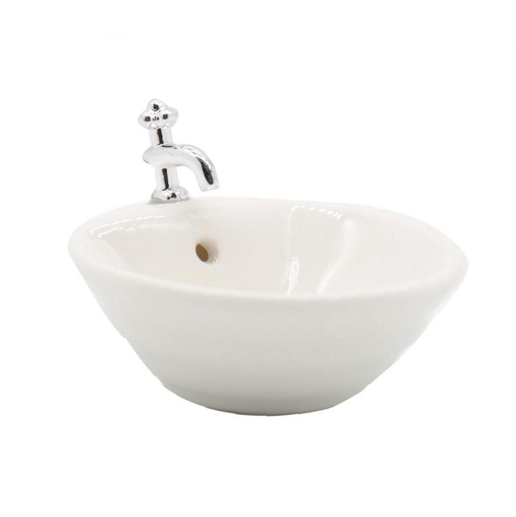 Round Dollhouse Bathroom Sink 1:12 Miniature Ceramic Wash Basin Bathroom Sink Model Simulation Accessory For Dollhouse White
