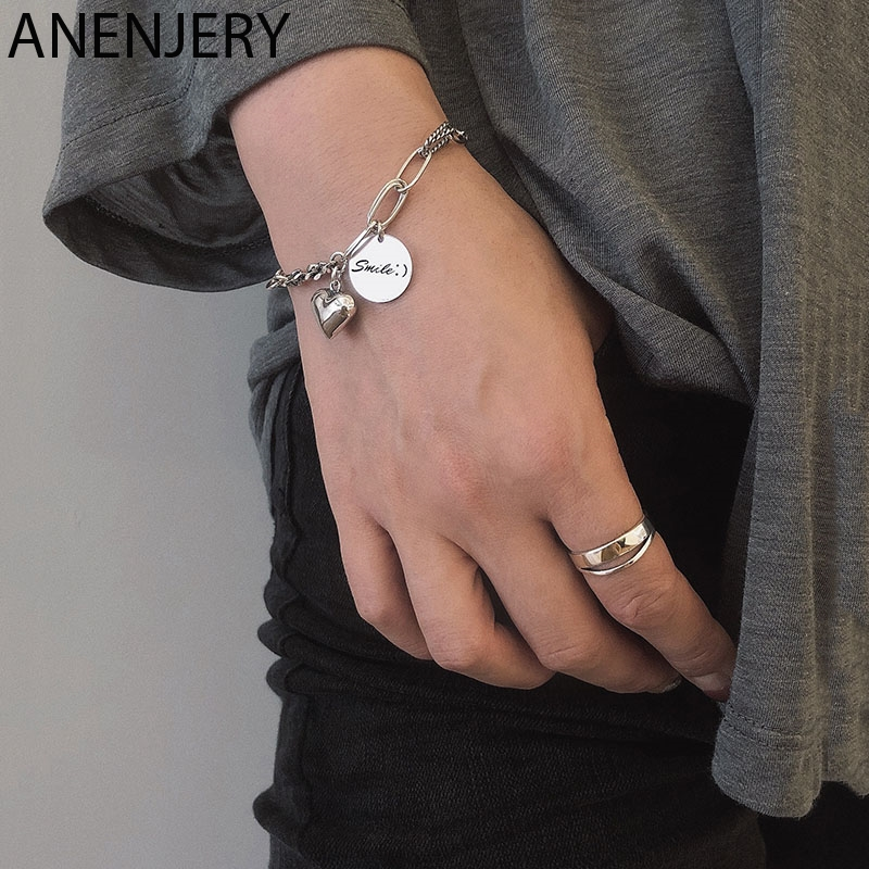 ANENJERY Smooth Love Heart Smiling Face Thai Silver Color Bracelet Punk Jewelry For Women Chain Bracelet S-B345(China)