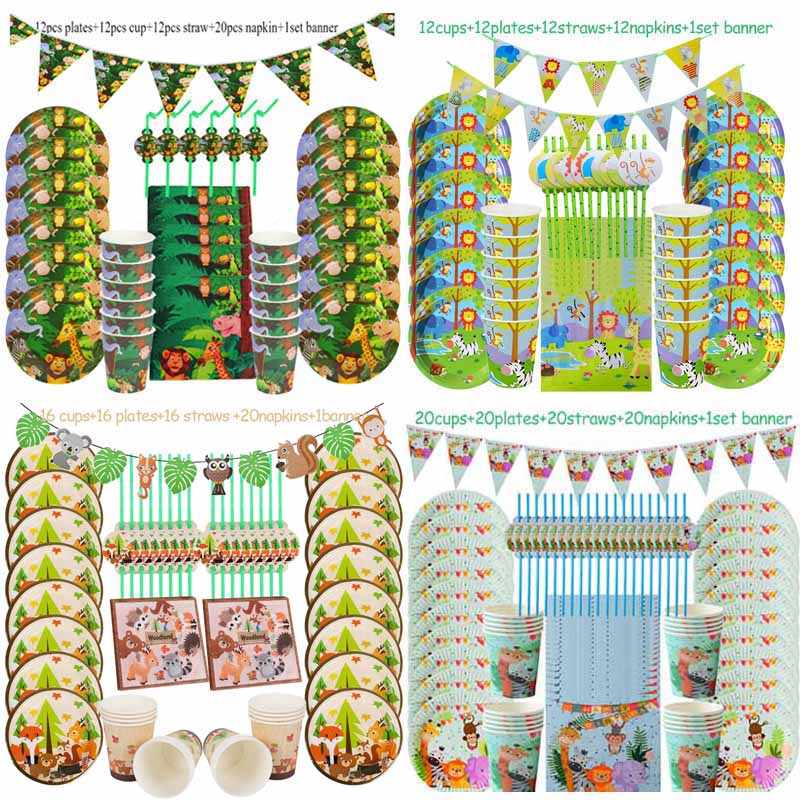 Jungle Verjaardagsfeestje Wegwerp Servies Sets Jungle Animal Wegwerp Borden Cups Servetten Baby Shower Benodigdheden Safari Decor