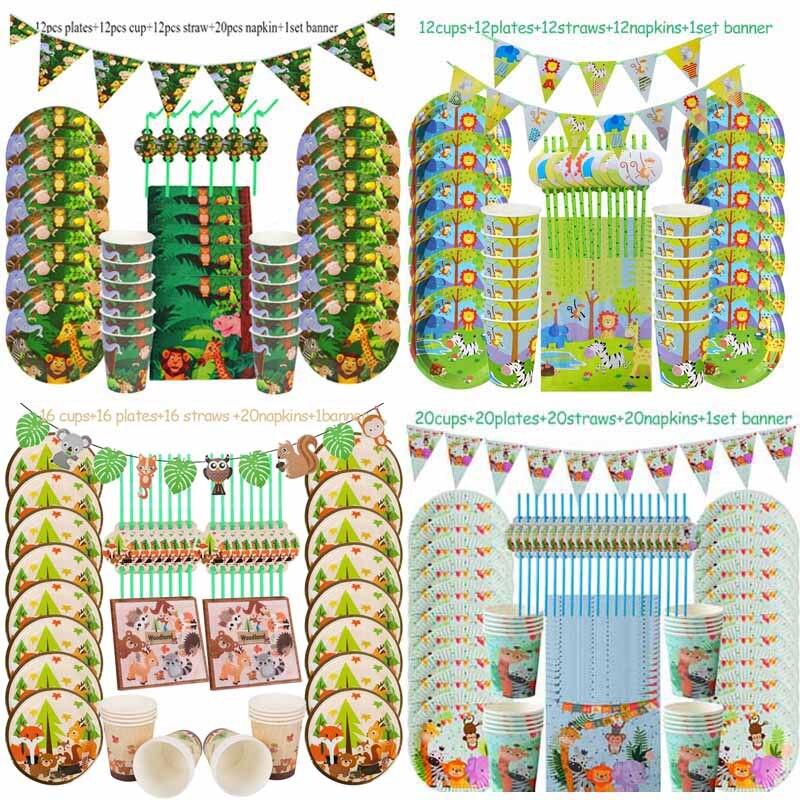Dżungli Birthday Party jednorazowe zastawy stołowe zestawy dla zwierząt z dżungli jednorazowe talerze kubki serwetki Baby Shower dostaw Safari wystrój
