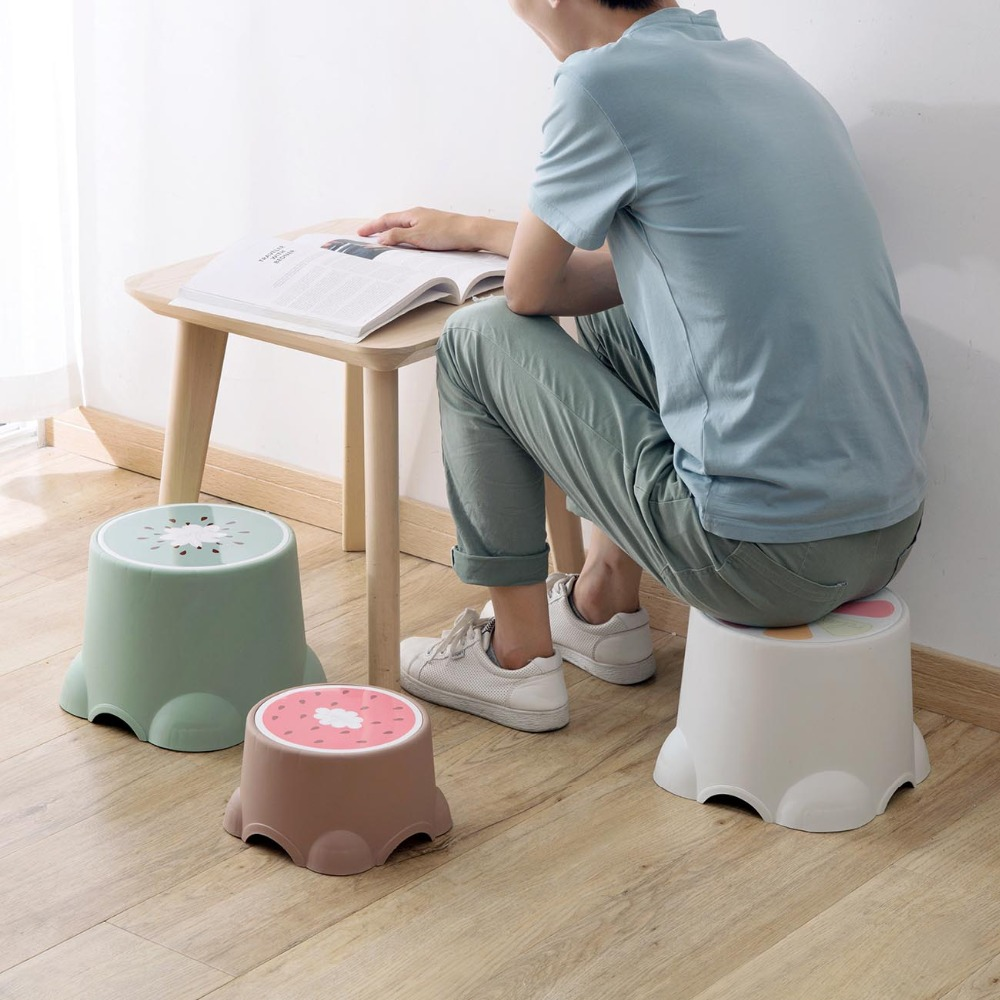 3 Styles Thicken Lovely Stools Fruit Pattern Living Room Non-slip Bath Bench Child Stool Changing Shoes Stool Children Gift