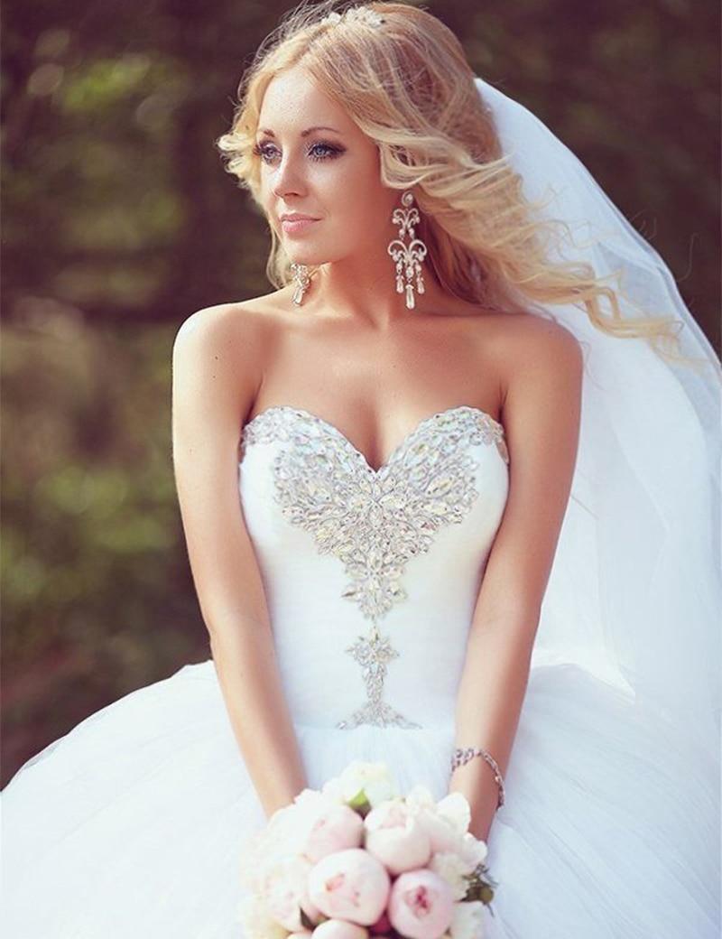 Robe De Mariage Brautkleid Modest Beautiful Sweetheart Crystal Ball Wedding Dresses Ivory Rhinestone Princess Bridal Dress