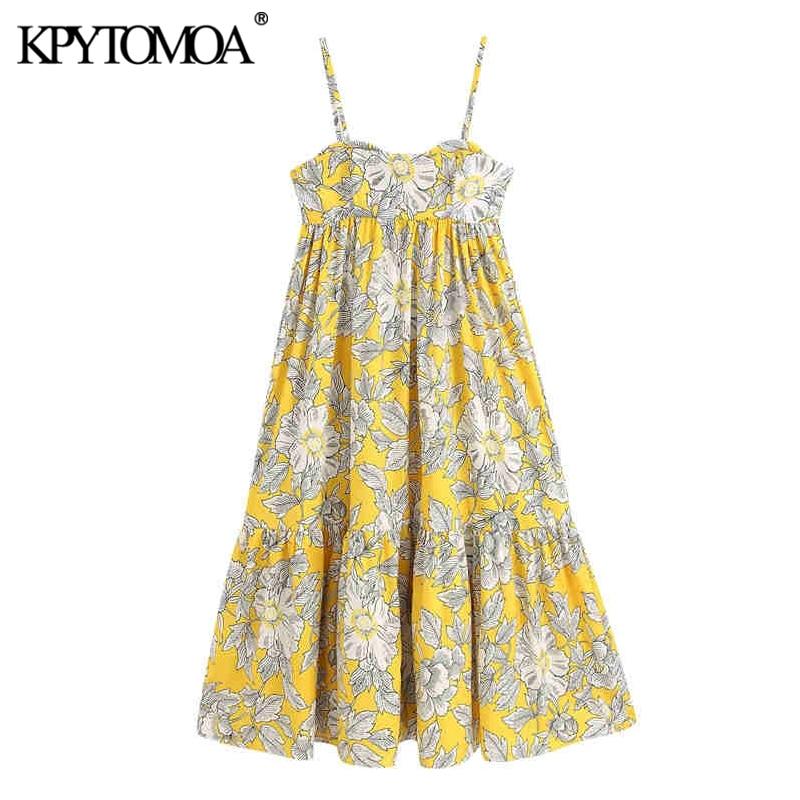 KPYTOMOA Women 2020 Elegant Fashion Floral Print Pleated Midi Dress Vintage Backless Spaghetti Strap Female Dresses Vestidos