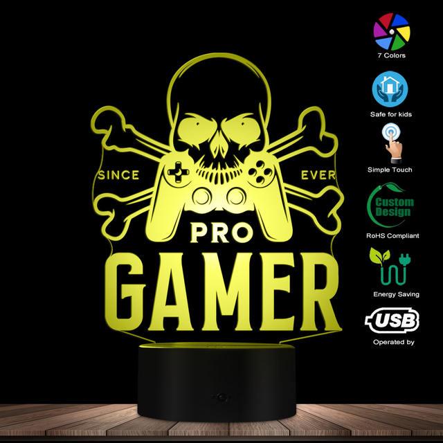 PRO GAMER SKULL CROSS BONE 3D LED LAMP