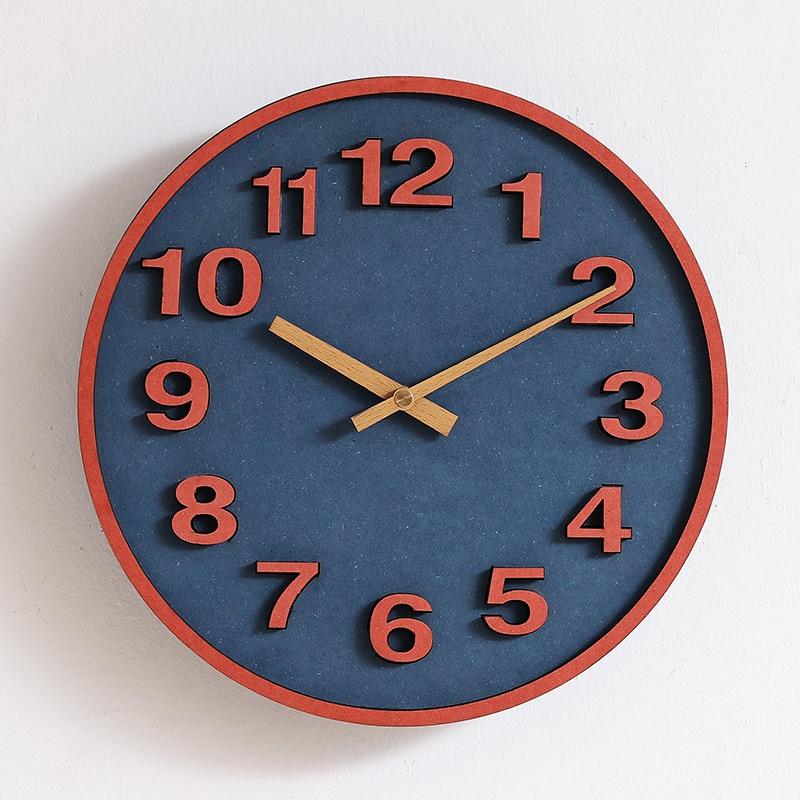 Creative Minimalist Wall Clock Wooden Nordic Ceramic Wall Clocks Modern Design Living Room Reloj Pared Home Decoration AA50WC