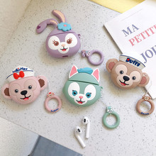 3D Cute Duffy Bear May Tony Cat Silicone Case for Apple Airpods1 2 Wireless Earphone Headphone Charging Box with Ring Strap