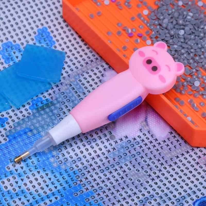5D FAI DA TE Disegni e schemi per puntocroce Singola Testa Penna Punto di Foratura con la Luce Luminosa Penna Punto di Foratura Punto Croce LED Trapano Penne