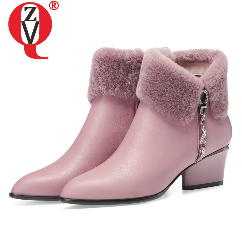 ZVQ Cute Sweet Leather Ankle Boots Winter Warm Chelsea Boots Pink Black Leather Party 5cm High Heels women