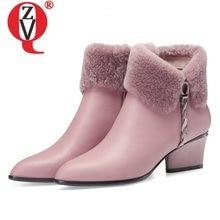 Zvq bonito doce couro botas de tornozelo inverno quente chelsea botas rosa preto festa de couro 5cm saltos altos sapatos femininos