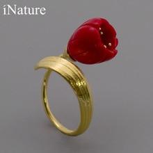 INATURE 925 Sterling Silber Rot Korallen Lilie der Tal Blume Offene Ringe für Frauen Hochzeit Schmuck