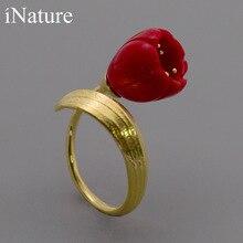Inature 925 prata esterlina vermelho coral lírio do vale flor aberto anéis para jóias de casamento feminino