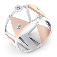 Amazing Unique Silver Rose Gold Two Tone Triangle Ring Fashion Simple Personality Anniversary Jewelry Gift for Women