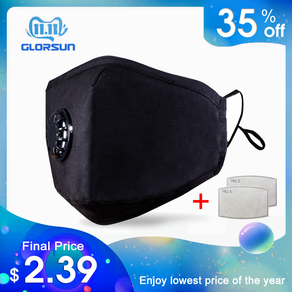GLORSUN Anti Pollution Mask,Dust Air Filter Cotton N95 For Pollution Smoke Allergy With 6 Layer PM2.5 Filter Mouth Mask