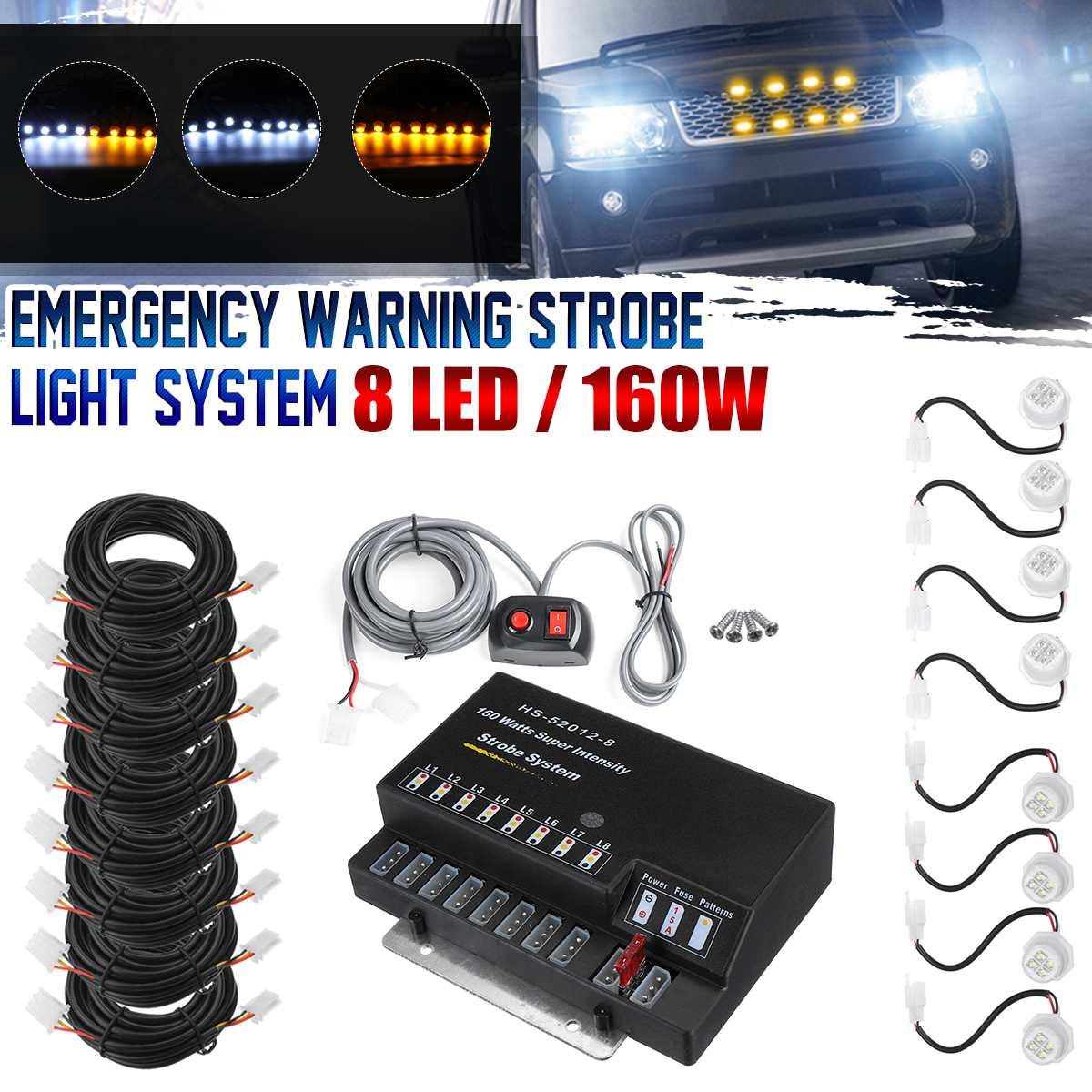 80/120/160W 12V voiture HID ampoules cacher Flash lumière stroboscopique avant Grille pont stroboscopique Flash voyant d'avertissement d'urgence pour camion Jeep