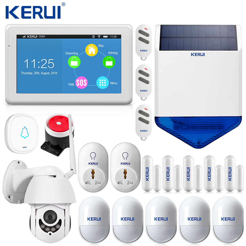 KERUI K7 Wifi Alarm Touch Display WIFI GSM Alarm System Home Alarm Security Kitpad App Control 1080P Outdoor Camera