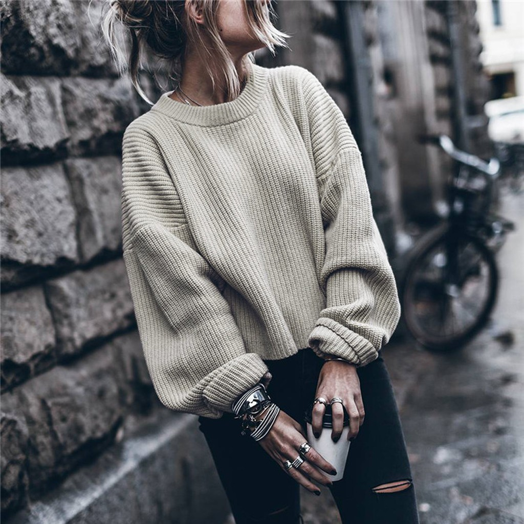 Knitted Sweater Pullovers Long-Sleeve Female Autumn Winter Casual Femme And Solid