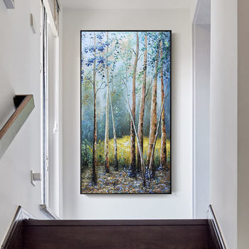 Pure hand-painted Oil Painting Decorative Painting The Living Room European-birch Forest Landscape Entrance Hallway Vertical Ver