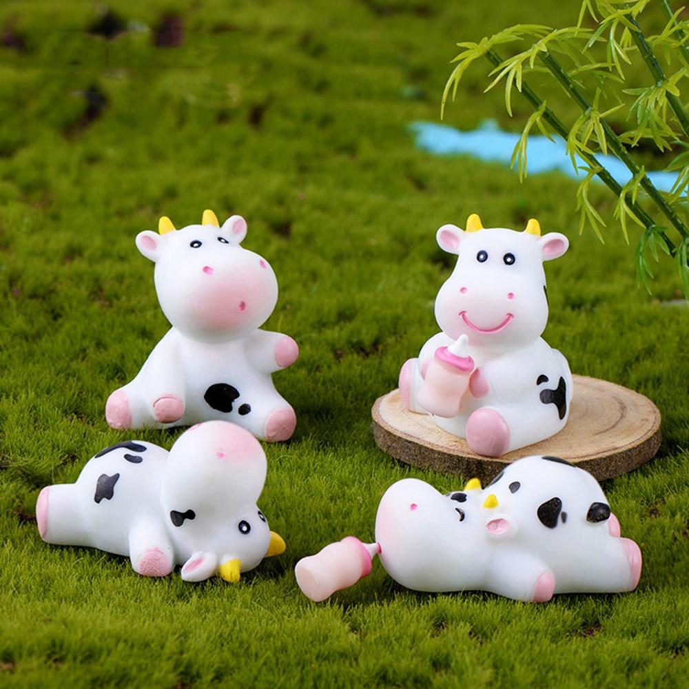 1 pc estatuetas de vaca em miniatura gado leiteiro modelo animal pequena estátua decoração para casa bonsai ornamento jardim micro paisagem diy