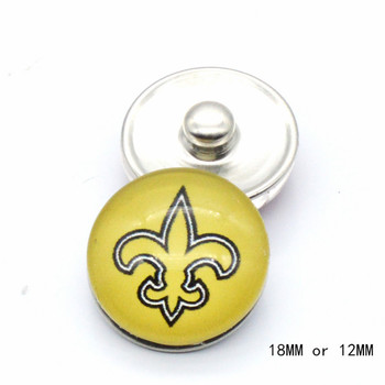 Glass Snap Button 18-mm Or 12-mm New Orleans Saints Charms