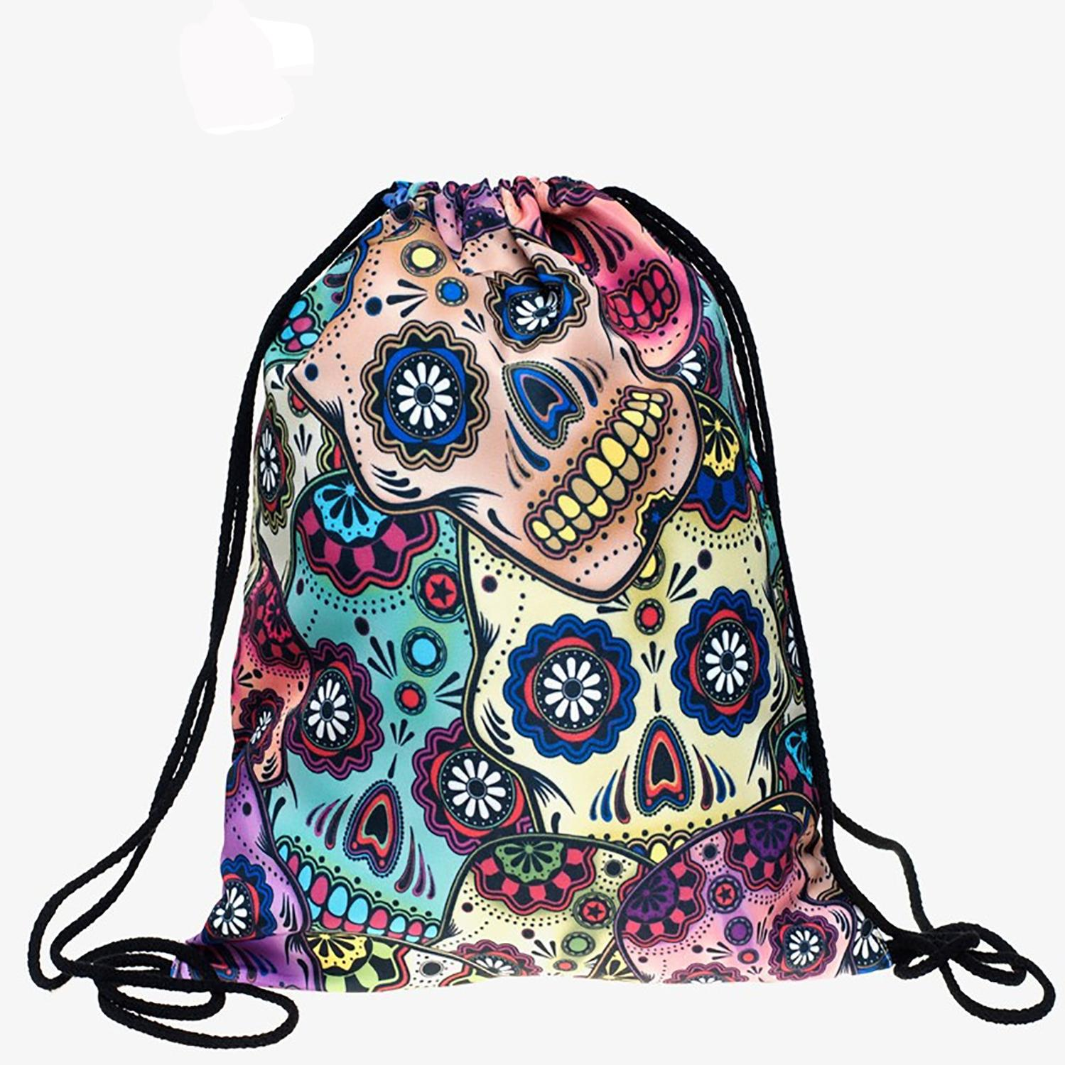 Bundle Pocket Rope Bag 3-D Digital Printing Mexican Skull Bundle Pocket For Tie Backpack Women Bags Woman Shoulder Bag Factory
