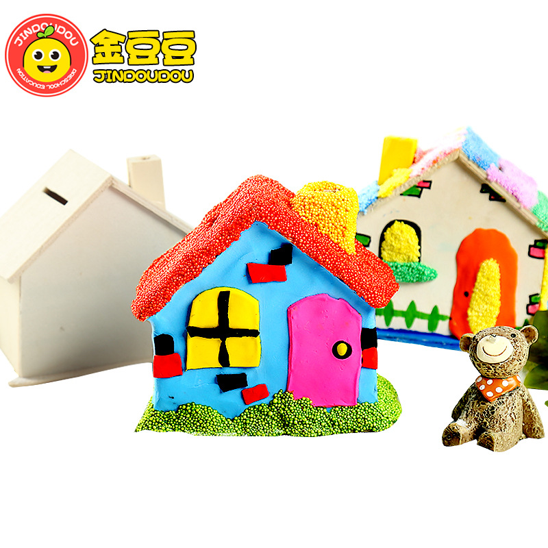 White Embryo Wooden Small House Children's Handmade Graffiti Diy Creative Toy Teaching Aid Painting Coloring Piggy Bank