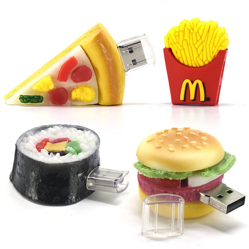 Food Pendrive 4GB 8GB 16GB 32GB 64GB Usb Flash Drive 128GB 256GB U Stick Burger Fried Strip Pizza Memory Usb Sushi Pen Drive