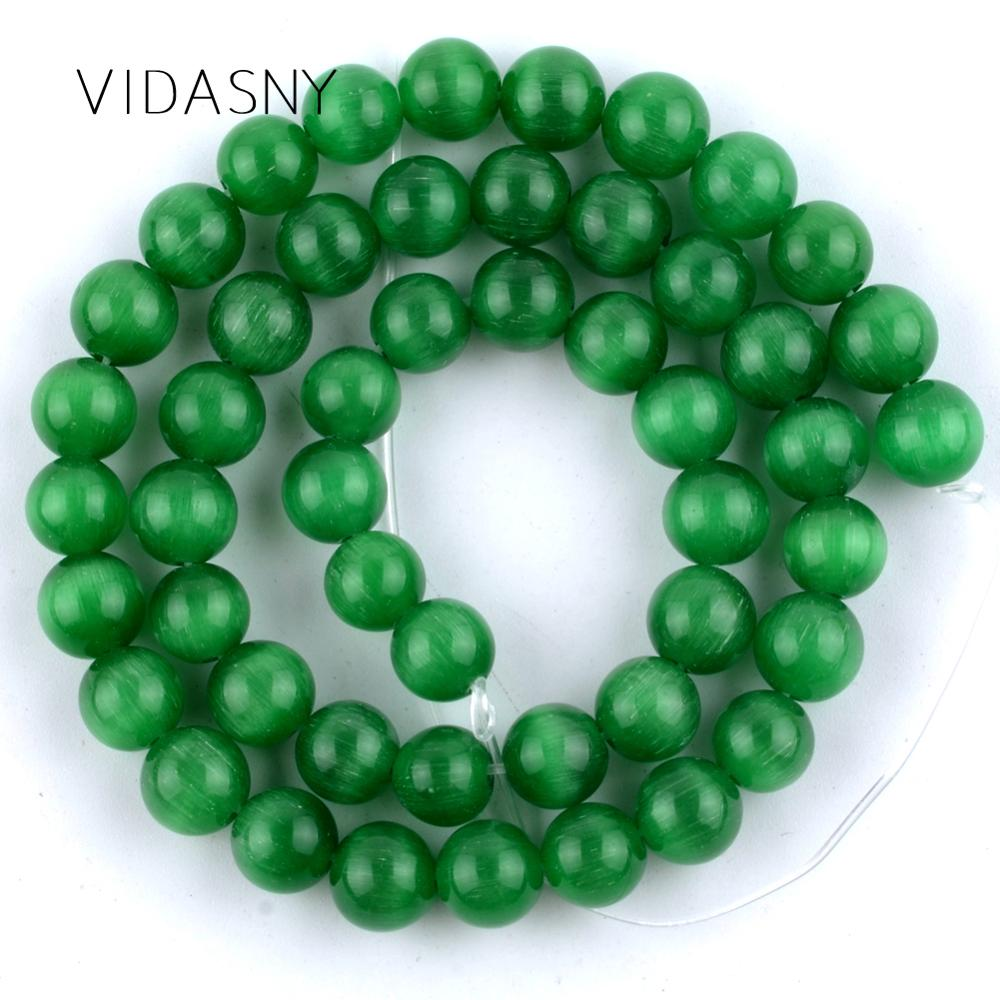 Natural Gem Green Cat Eye Stone Beads For Jewelry Making 4 6 8 10 12mm Round Spacer Loose Diy Bracelet Necklace 15
