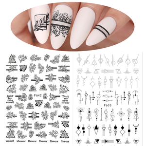 Black White 3D Flowers Leaves Nail Art Stickers Sliders Geometry Adhesive Nail Art Decals Decorations DIY Design Accessories