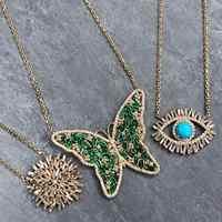 Duży wisiorek z motylem naszyjnik zielony różowy cyrkonia cz Bohe Bohemia lady kobiety moda biżuteria