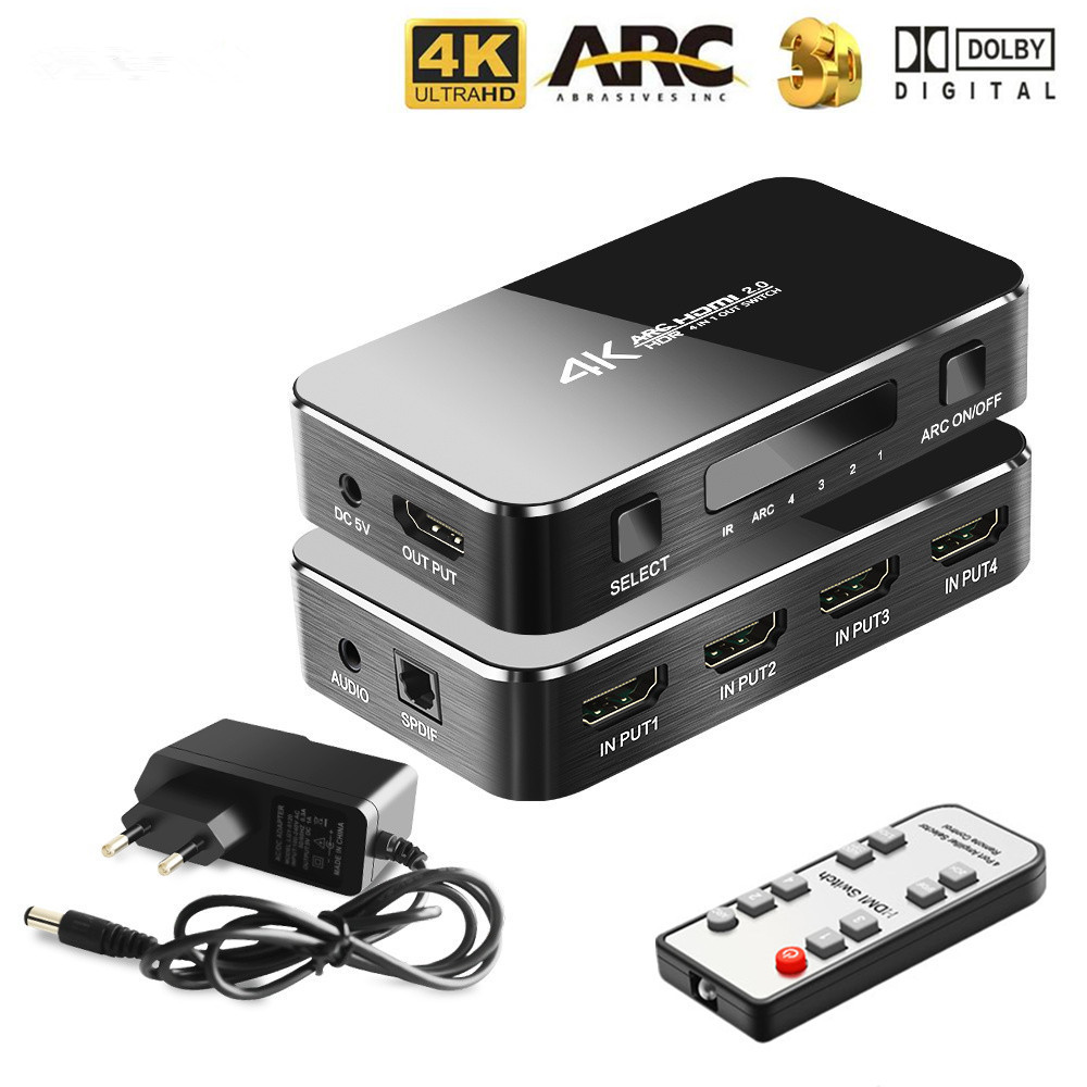 HDMI сплиттер 4 порта Переключатель 4K 2,0 аудио экстрактор ARC & IR управление 4 входа 1 выход адаптер
